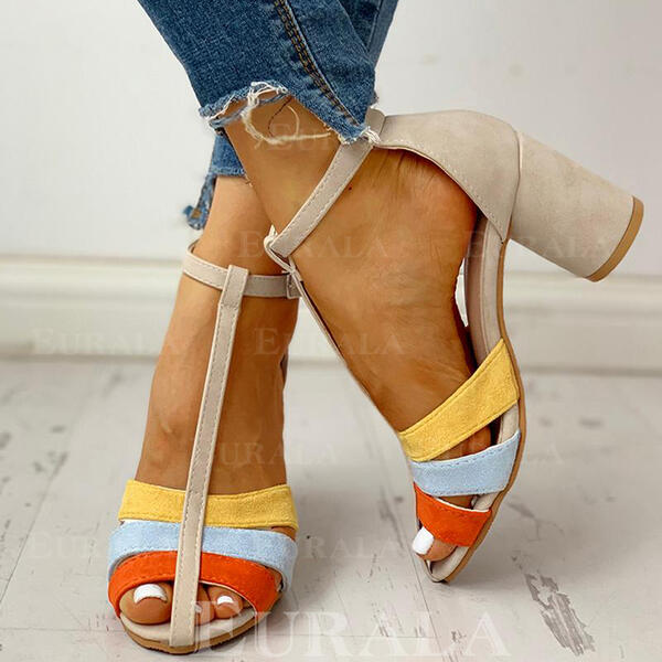 Women's PU Chunky Heel Pumps Peep Toe With Buckle shoes