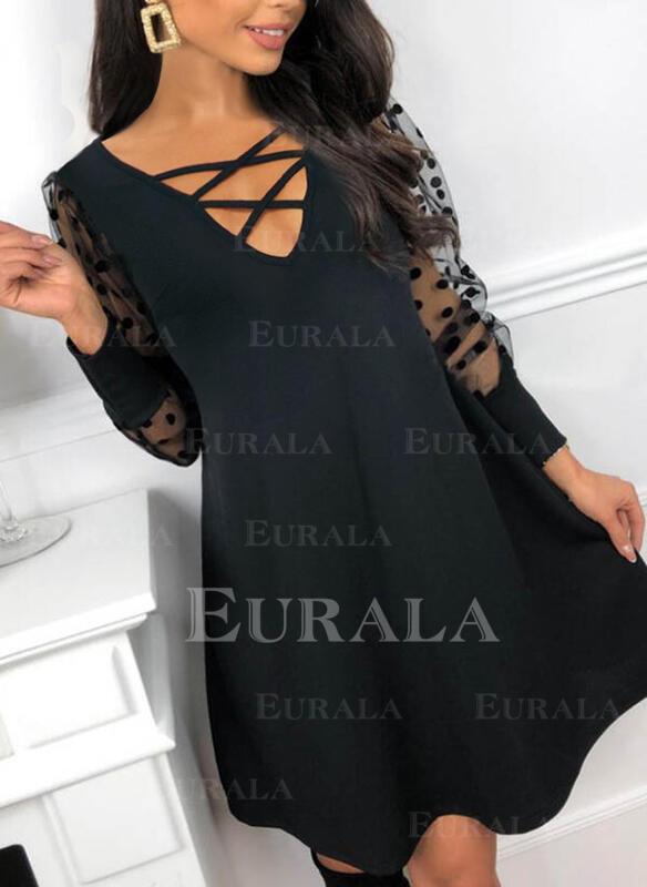 PolkaDot Long Sleeves Shift Above Knee Little Black/Elegant Tunic Dresses