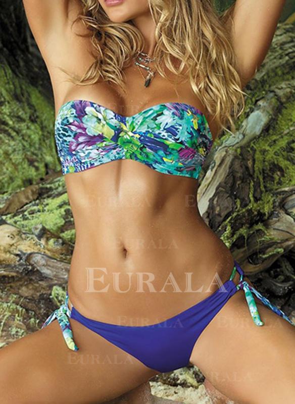 Kwiatowy Bandeau Sznurek Bez ramiączek Elegancki Kolorowy Bikini Stroje kąpielowe