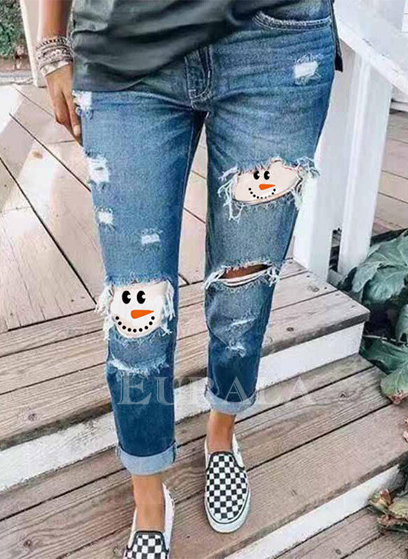 Patchwork Print Plus Size Ripped Christmas Casual Vintage Denim & Jeans