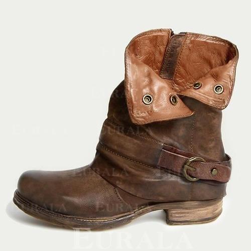 Kvinner PU Lav Hæl Flate sko Lukket Tå Støvler Mid Leggen Støvler med Spenne sko