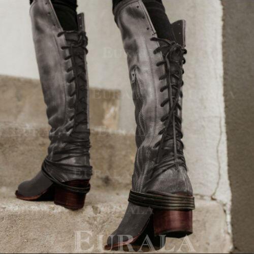 Bayanlar PU Düşük Topuk bot ayakkabı Diz Çizmesi Ile Bağcıklı ayakkabı ayakkabı