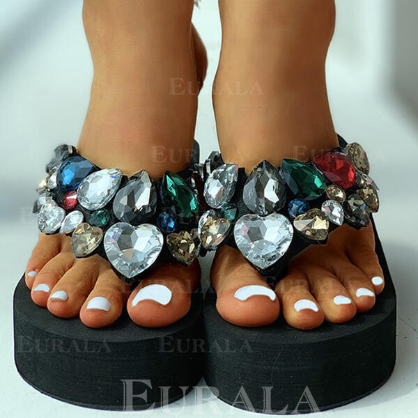 Women's Fabric Flat Heel Sandals Peep Toe Slippers With Rhinestone shoes