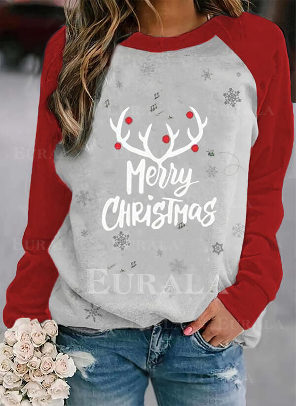 Print Color Block Figure Round Neck Long Sleeves Christmas Sweatshirt
