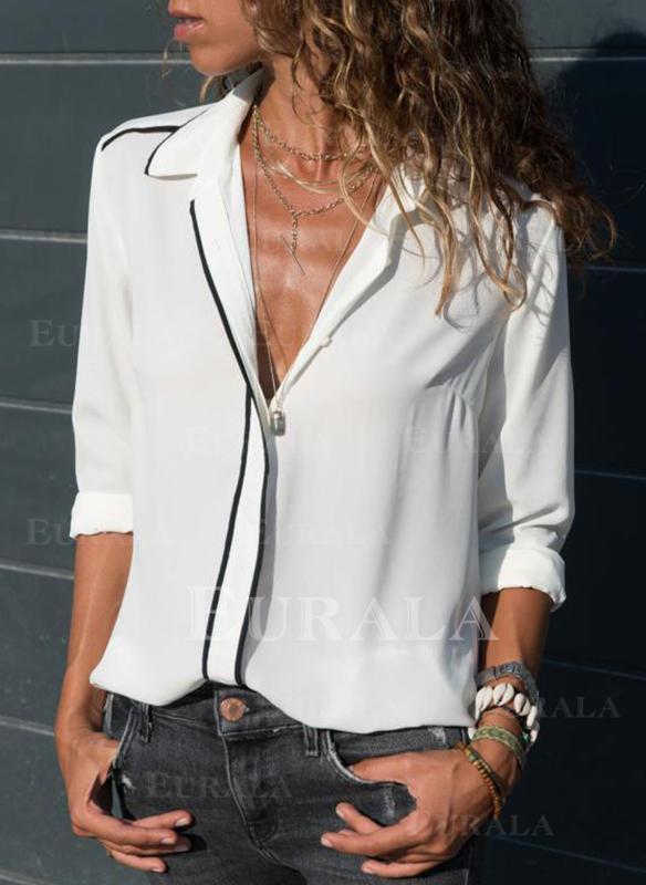 Jednolity Klapa Długie rękawy Casual Bluski koszulowe