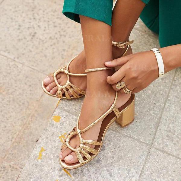 Dla kobiet PU Obcas Slupek Sandały Czólenka Otwarty Nosek Buta Bez Pięty Obcasy obuwie