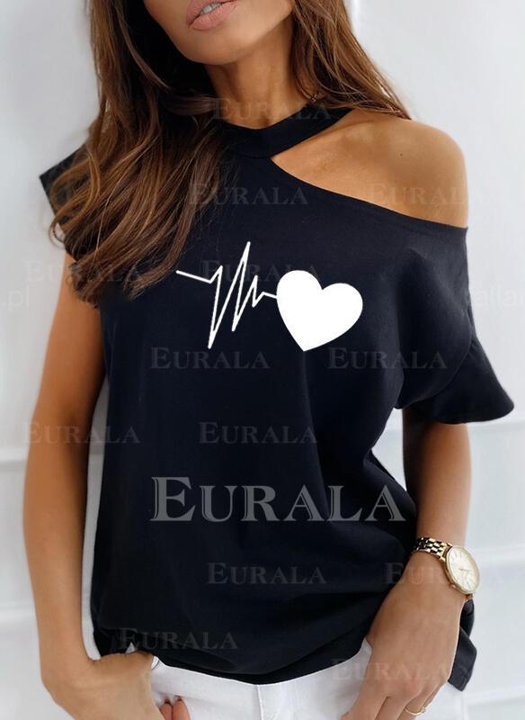 Print One-Shoulder Short Sleeves Casual Blouses