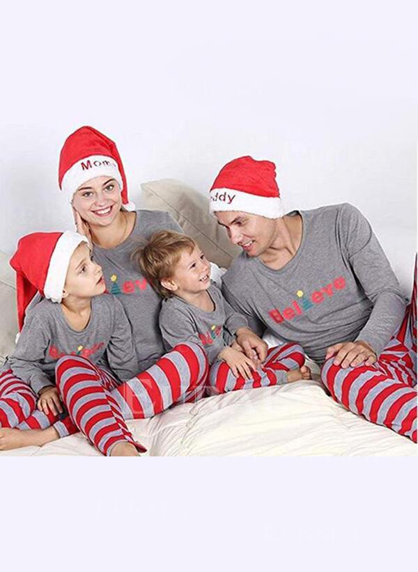 Färg Blocket Brev Rand Matchande familj Jul Pyjamas