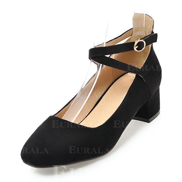 Kvinnor Mocka Låg Klack Stängt Toe med Spänne skor