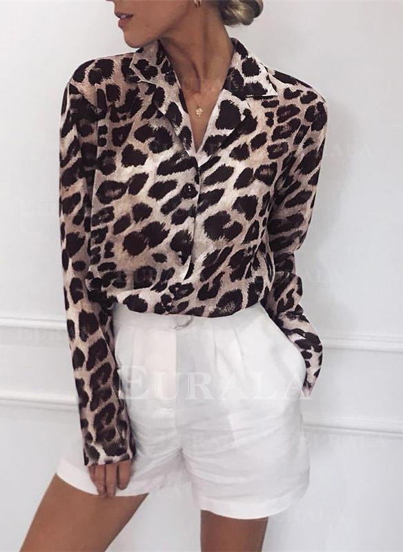 Leopardo Solapa Manga Larga Con Botones Casual Blusas