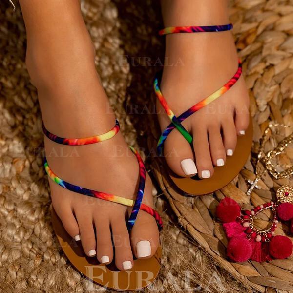 Женский PU Плоский каблук Сандалии Peep Toe с Цвет соединения обувь