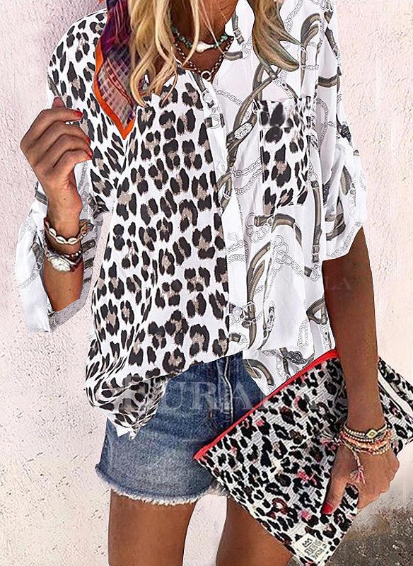 Peticire leopar Rever Mâneci Lungi Cu nasturi Comodă Cămaşă Tip Bluză