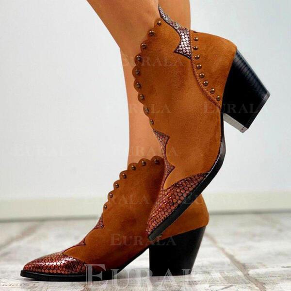 Pentru Femei PU Toc gros Cizme Botine cu Nit Cataramă pantofi