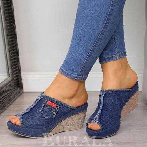 Bayanlar kot Sivri topuk Sandalet Takozlar Peep Toe Terlik topuk Ile Bölünmüş Eklem ayakkabı