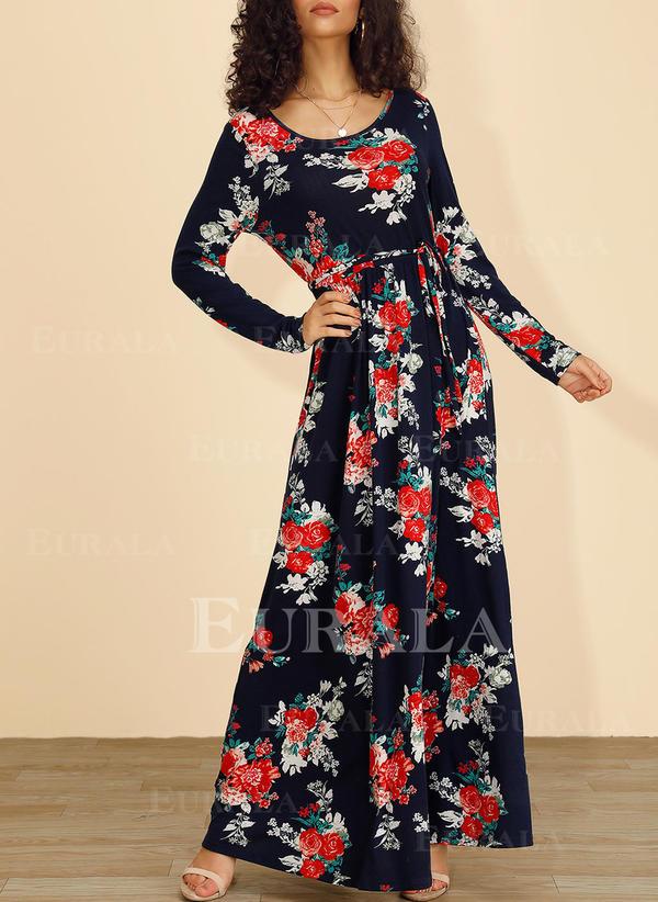 Nadrukowana Długie rękawy W kształcie litery A Łyżwiaż Casual/Boho/Wakacyjna Maxi Sukienki