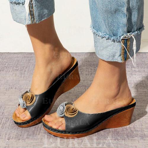 Bayanlar PU Sivri topuk Sandalet Takozlar Peep Toe Terlik Ile Çiçek ayakkabı