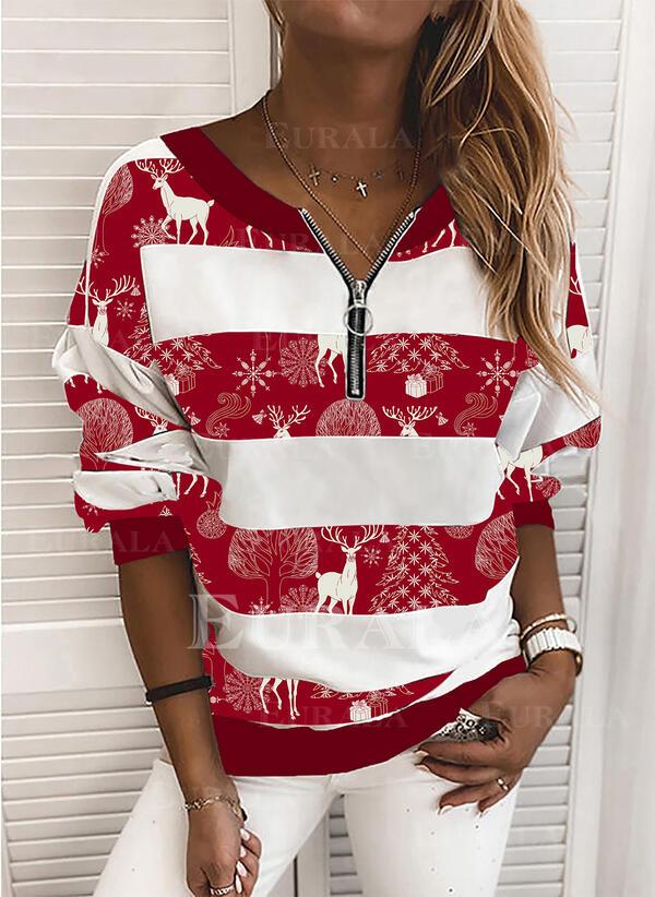 Animal Print V-Neck Long Sleeves Christmas Sweatshirt