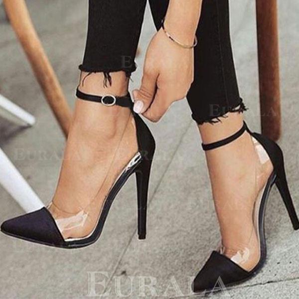 Bayanlar Saten Topuklu ayakkabı Pompalar Ile Toka ayakkabı