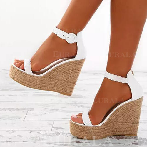 Women's Leatherette Wedge Heel Sandals Peep Toe With Buckle shoes