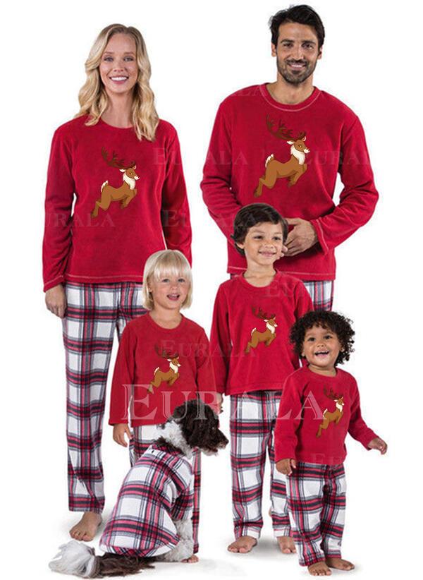 Reinsdyr Plaid Print Familie matchende Jule Pyjamas