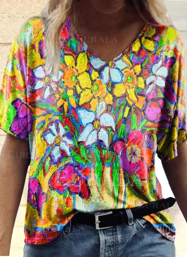 Цветочный Распечатать V шеи С коротким рукавом Футболки