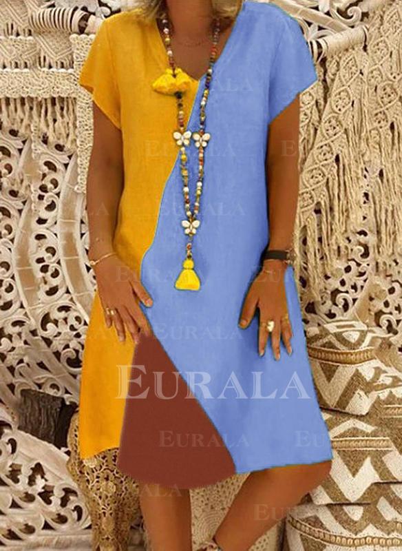 Wyszczuplająca Krótkie rękawy Koktajlowa Długośc do kolan Casual T-shirt Sukienki