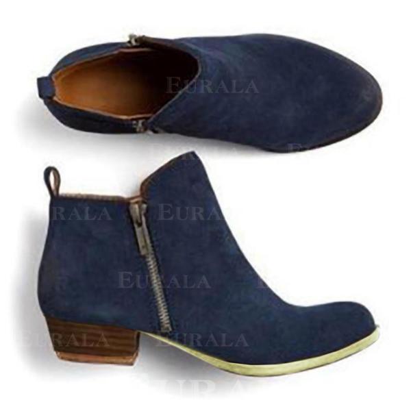 Pentru Femei Imitaţie de Piele Toc gros Cizme cu Fermoar pantofi