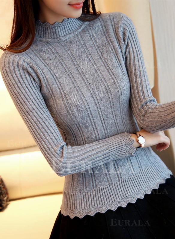Sólido Canelado Gola Subida Casual Apertado Suéteres