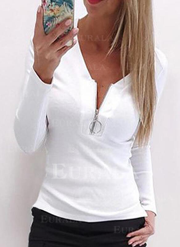 Jednolity Dekolt w kształcie litery V Długie rękawy Casual Podstawowe Bluzki