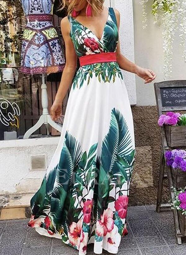 Estampado/Floral Sem mangas Evasê Skatista Festa/Férias Maxi Vestidos