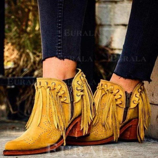 Ботильоны Каблуки Острый нос с Молния кисточка Сплошной цвет обувь