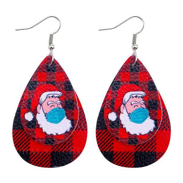 Drop Shape Christmas Christmas Santa Survivor 2020 PU Women's Earrings 2 PCS