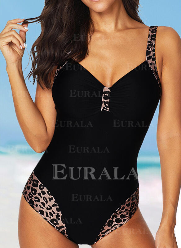 Leopard Strap V-Neck Sexy Plus Size One-piece Swimsuits