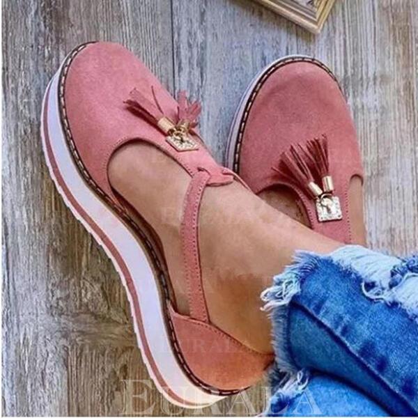 Mulheres Couro Sem salto Sem salto Plataforma Toe rodada com Franja sapatos