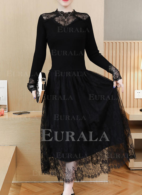 Lace/Solid Long Sleeves A-line Little Black/Casual Midi Dresses