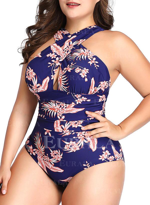 Tropisk utskrift Halterneck Sexy Pluss størrelse Badedrakt Badedrakter