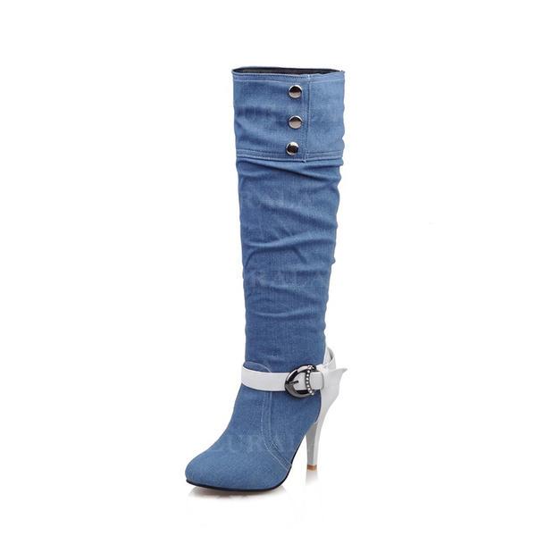 Mulheres Jean Salto agulha Bombas Botas Bota no joelho com Strass Fivela sapatos