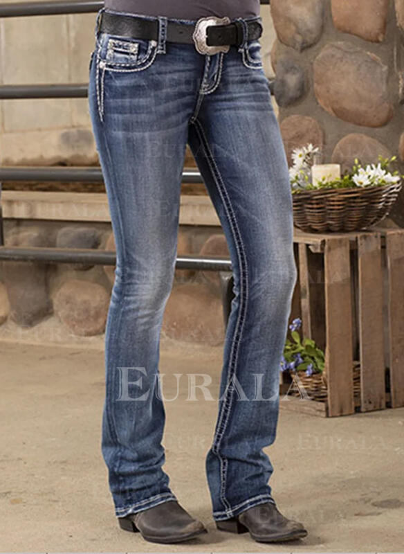 Shirred Plus Size Casual Tribal Denim & Jeans