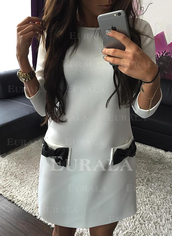 Solid Lange ermer Kvinnedrakt Overknee Casual Tunika Kjoler