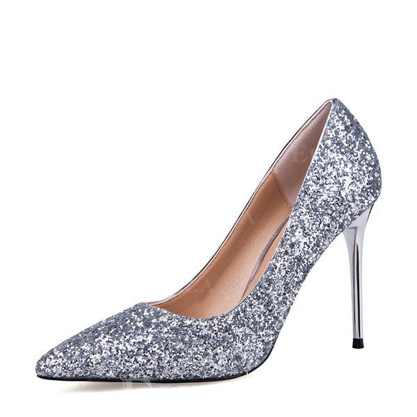 Kvinner Glitrende Glitter Stiletto Hæl Pumps Lukket Tå sko