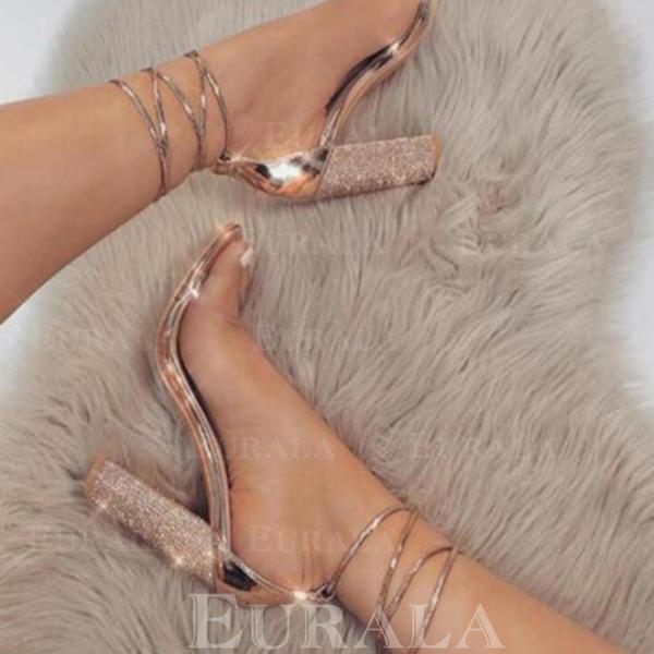 Pentru Femei PU Toc gros Sandale Încălţăminte cu Toc Înalt Puţin decupat în faţă cu Altele pantofi