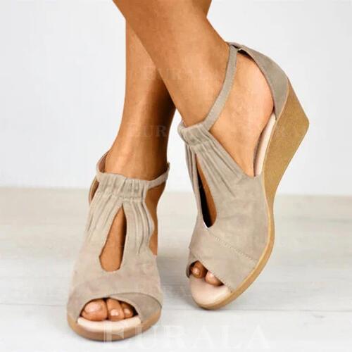 Dla kobiet Zamsz Obcas Koturnowy Sandały Koturny Otwarty Nosek Buta Obcasy Z Klamra obuwie