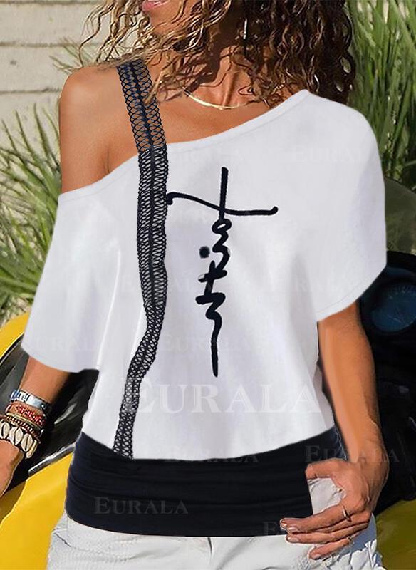 Распечатать кружевной Одно плечо С коротким рукавом Повседневная Блузы