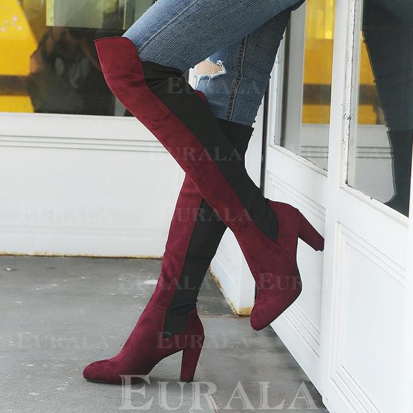 Bayanlar PU Tıknaz Topuk Diz Çizmesi Üzerine Ile Fermuar ayakkabı