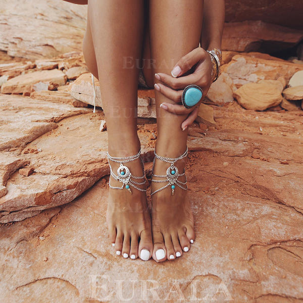 Elegante Aleación con Perlas de imitación De mujer Joyas de playa