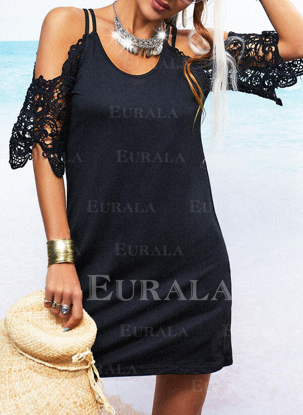 Lace/Solid 1/2 Sleeves/Flare Sleeves Sheath Above Knee Little Black/Casual Dresses