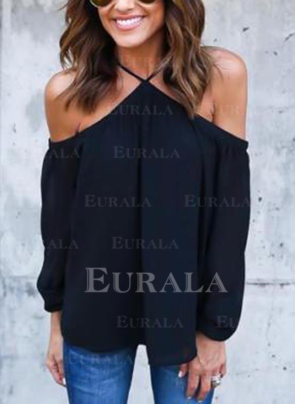Jednobarevný Odhalená Ramena Dlouhé rukávy Neformální Sexy Bluze