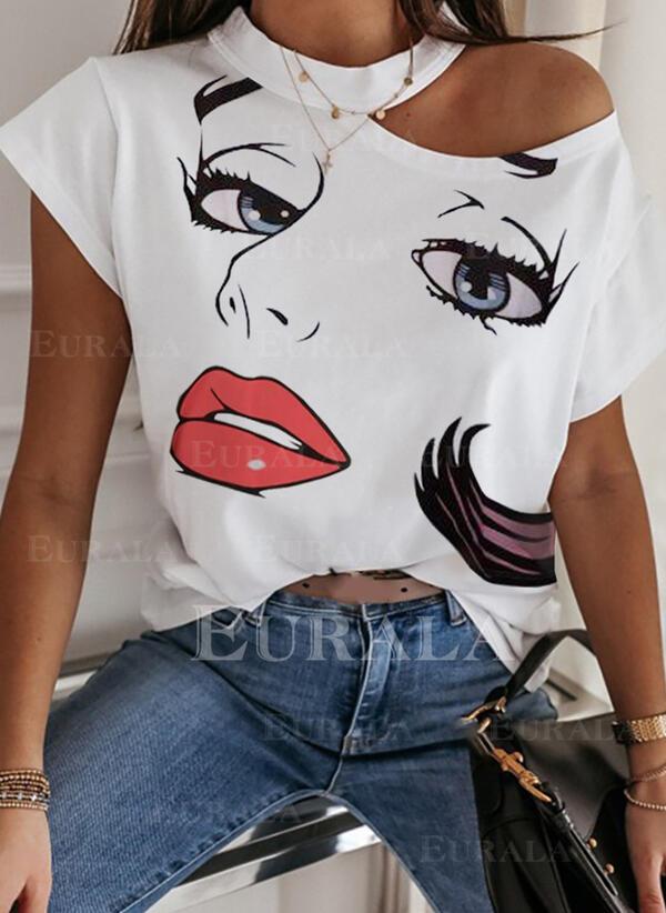 Распечатать Одно плечо С коротким рукавом Повседневная Блузы