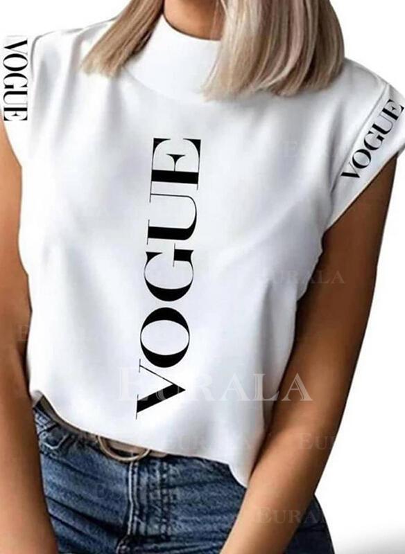 Распечатать Letter Воротник-стойка Рукав Повседневная Блузы