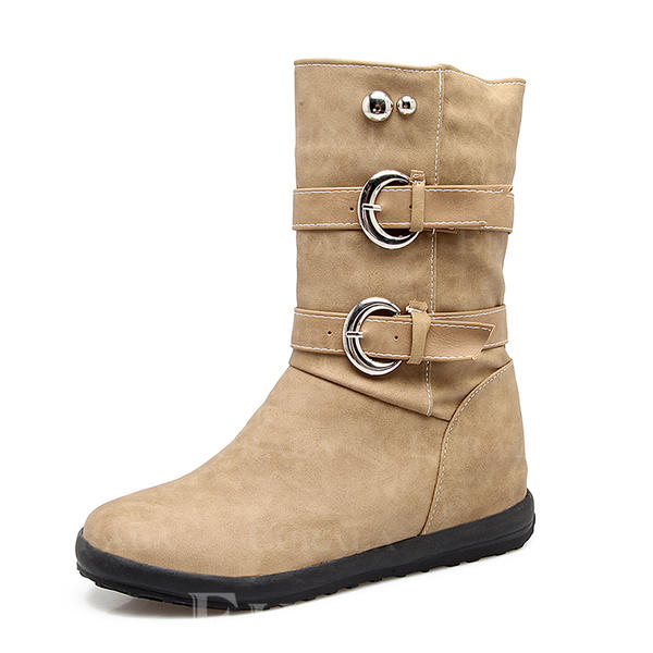 Női Műbőr Alacsony sarok Zárt lábujj Csizma Bokacsizma Mid-Calf Csizma -Val Szegecs Csat cipő
